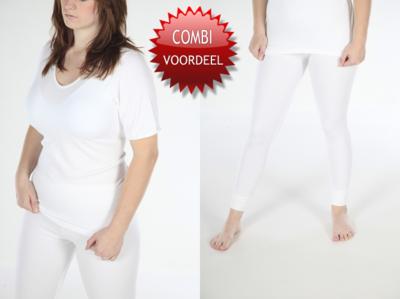 Combi pack met shirt korte mouwen-dames viscose/polyester beeren