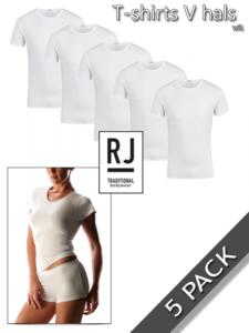 Dames T-shirts V-hals katoen/elasthan 5 pack